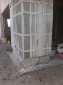 קיר חיצוני לפני ניקוי